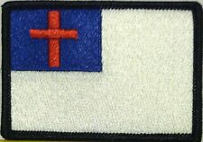 Christian Flag Tactical Patch With VELCRO® Brand Fastener BLACK Border