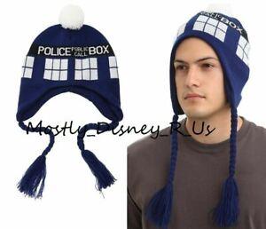 Dr Who Tardis Police Box Peruvian Knit Pom Beanie Hat Laplander New Police Call