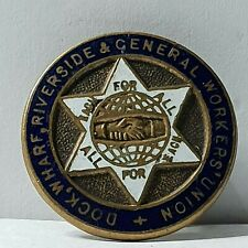 More details for dock wharf riverside and general workers union lapel enamel badge 26mm pre 1922