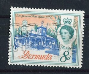 Bermuda QEII 1962 8d architecture SG169 var used (corner retouch Pl.1B R10/5)