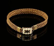 ANTIQUE GEORGIAN MOURNING BRACELET WITH PEARL CLASP