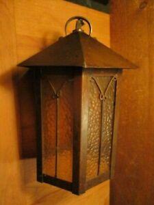Vintage Copper Arts & Crafts Hanging Lantern Light Fixture