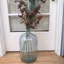 """Large Antique Vintage Carboy DemiJohn Glass Wine Bottle Jug Vase 20"""" Tall Heavy"""