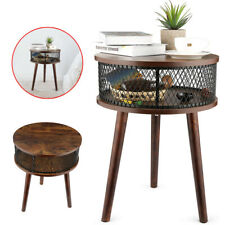 Industrial Round End Table, Side Table with Metal Storage Basket Vintage Upgrade