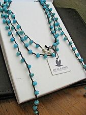 """Old Soul Necklace Pacific Blue Faceted Crystals 84"""" LONG Brown Waxed Linen NWT"""