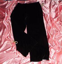 "USA NWT 14W Black Silk Velvet Lounge Hostess Pants Slacks 30"""