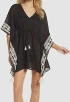 $345 Tory Burch Women's Black Ravena Shibori Caftan Swimwear Cover-Up Dress XS