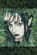 Fantasy Art LARGE SIZE PRINT Fairy Gothic Green Forest Leaves Elf Face dark