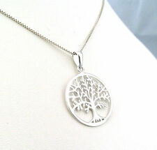 Funky 925 Sterling Silver Tree of Life Pendant with 18 inch silver box Necklace