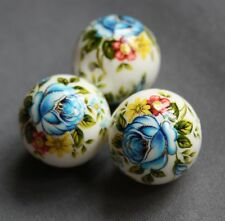 17mm Japanese Tensha beads with floral pattern WHITE - 4 pcs