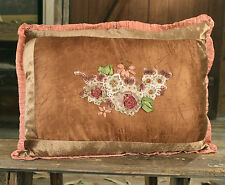 Cushion Throw Pillow Embroidered Decor Brown (Filled) 50x35cms Brand New