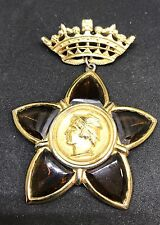 VINTAGE BROOCH GOLDPLATED CROWN AND Amber Color POURED GLASS STAR MYTHICAL GOD
