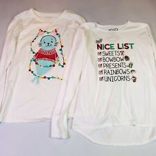 JoJo Siwa 'Nice List' & Sea Otter Christmas Long Sleeve Shirts Lot of 2 Size XL