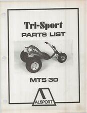 Reproduction Alsport Tri-Sport Parts List Manual MTS30 MTS-30