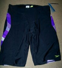 NWT Speedo Pro LT Jammer Swimsuit Men's 38 ~ Black Purple ~ Swim ~