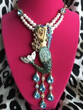 Betsey Johnson Into The Blue Sea Ocean HUGE Mermaid Statement Pearl Necklace