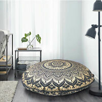 "32"" Black Gold Ombre Mandala Decorative Floor Pillow Cushion Cover Round Indian"