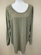 Lularoe 3XL Gray Mustard Circle Chain Stripe Lynnae Shirt Long Sleeve