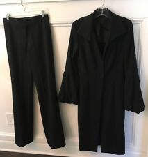 GUCCI 2- PC. Black 100% Lambswool Long Jacket (SZ. 44) & Matching Trousers (40)