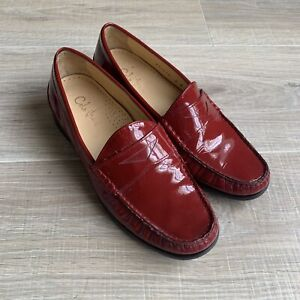 Cole Haan Womens Penny Loafers Shoes Sz 6 Red Patent Leather Air