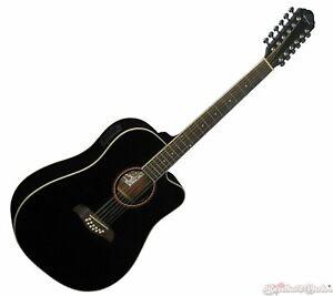 Oscar Schmidt OD312CEB 12-String Acoustic Electric Guitar - Black