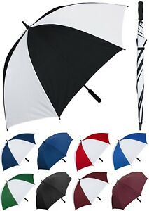 "60"" Arc Windproof Fiberglass Golf Umbrella - RainStoppers, Rain/Sun UV, Manual"