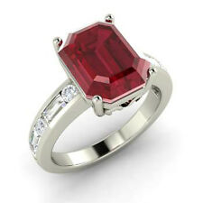 Emerald Shape 2.50Ct Ruby Gemstone 925 Sterling Silver Exquisite Engagement Ring