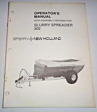 New Holland 302 Slurry Manure Spreader Operators Manual 485 Original Nh