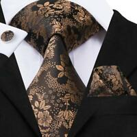 USA Classic Brown Floral Mens Tie Necktie Silk Jacquard Woven Set Wedding Party