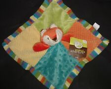 "Animal Adventure 12"" Orange Fox Baby Security Blanket Rattle Patches Lovey Minky"