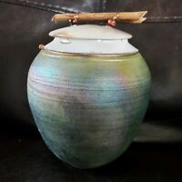 Raku pottery signed, Tigerseye and copper accents