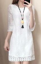 women lady plus size hollow half sleeve lace formal evening cocktail party dress