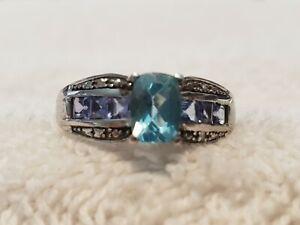 Aquamarine/Tanzanite Sterling Silver Ring - Size 8