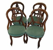 Antique American Rococo Revival Walnut Dining Chairs - Set of Four