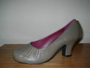 HOTTER TRUFFLE LEATHER  HEELS WORK  COURT SHOES SIZE 3/35.5 STD