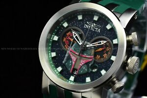 Invicta 46mm Men DNA Star Wars BOBA FETT Chrono Lim Ed Swiss Green Strap Watch
