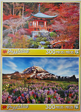 jigsaw puzzle lot of 2 Puzzlebug 300 pc Red Autumn Temple Japan & Mount Rainer