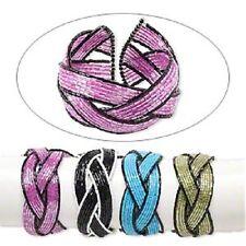 1765JU BULK Bracelet Mix Bangle Memory Stainless Steel Glass Seed Beaded  4 Qty