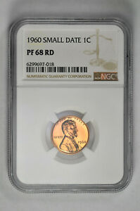 1960 Small Date Proof 1C Lincoln Memorial Cent NGC PF 68 RD