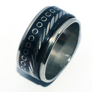 Black Tribal Big Mens Stainless Steel Ring Spinner Rings Band Ring Jewelry 8