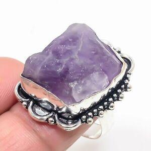 Rough Amethyst Gemstone Handmade 925 Sterling Silver Jewelry Ring Sz 8 (US)