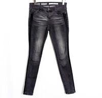 DKNY City Skinny Black Wash Low Rise Side Mesh Skinny Leg Jeans Size 0 (fits 2)