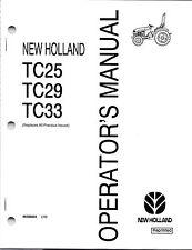 New Holland TC25, TC29, TC33 Tractor Operator's Manual 86588004
