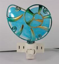 Nautical Aqua Blue Beach Shell Painted Glass Sea Life Decorative Night Light