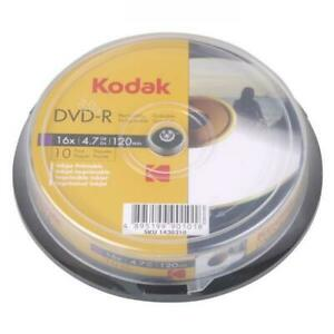 Kodak Printable DVD-R Inkjet Recordable Blank Discs + Sleeves 120 Min 16x 4.7GB