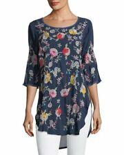 NWT JOHNNY WAS PLAYA TUNIC BLOUSE EMBROIDERED LONG TOP BLUE NIGHT PETITE L Reg M