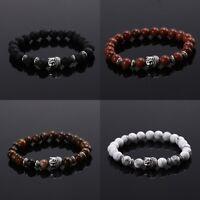 Men Women Lava Rock Bracelet Buddha Head Beaded Natural Gemstone Beads Handmade