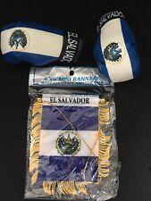 El Salvador Mini Flag and Mini Boxing Gloves Combo Car Mirror view Office Decor