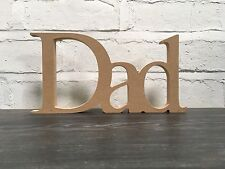 Father's Day MDF Dad craft blank. Word art. Freestanding 15cm high. 18mm thick.