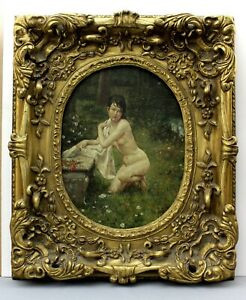 1877 SUPERB original oil on board   NUDE woman   glorious deep hand-carved FRAME